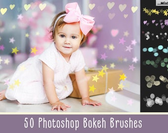 50 Photoshop Bokeh brushes, Bokeh paper invintation, bokeh brush, bokeh effect, clipart, glitter brushes, sparkle brushes, confetty brush