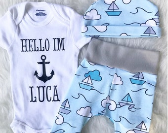 HELLO THERE IM / Name Onesie / Newborn Outfit / Coming Home Outfit / Nautical Baby Outfit