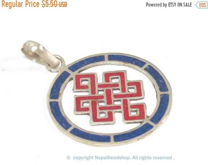 SALE 1 Pendant - Round thin disc shape Tibetan infinity Endless knot pendant - PM307E