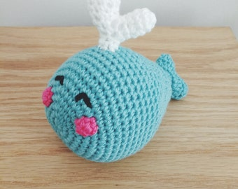 Baby whale crochet cuddle toy, nursery or babyshower gift