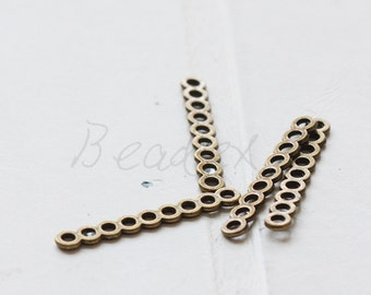 30 Pieces / Bar / Antique Brass Tone / Base Metal / Spacer / 9 Strands (Y36404//C360)