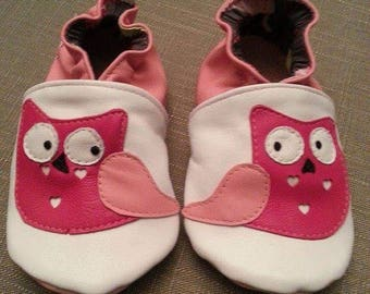 leather baby shoes soft owls