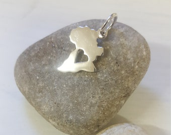 Sterling Silver Africa Small with Heart Piercing - Shiny.