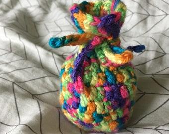 Crochet Rainbow Dice/Trinket Bag
