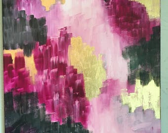 All Things / 18x24 original abstract acrylic and gold leaf painting / pink / grey / black / magenta / gold foil