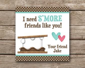 PRINTABLE - Valentine's Day Tag - Smores Valentine - Smore's Valentine - Smores Favor Tag - Sticker - Gift Tag - Custom - Personalized