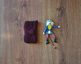 burgundy smartphone case / crochet phone pouch / knit cell phone sleeve