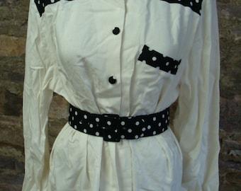 POLKA DOT 1990's BLOUSE and belt set oversized S M
