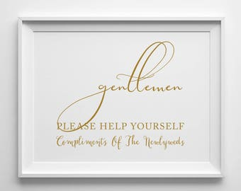 Gentlemen Wedding Bathroom Sign | 8 x 10 Sign | Printable Sign | Antique Gold | PDF and JPG Files | Instant Download