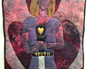 Art quilt wall hanging of a Truth Warrior
