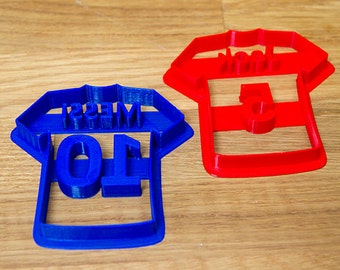 Personalised Football Shirt Cookie Cutter (10 Colours) - UK Seller