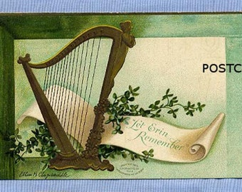 Postcard, St. Patrick's Day, Ellen Clapsaddle, Circa 1915, Irish Harp, Shamrocks, Erin