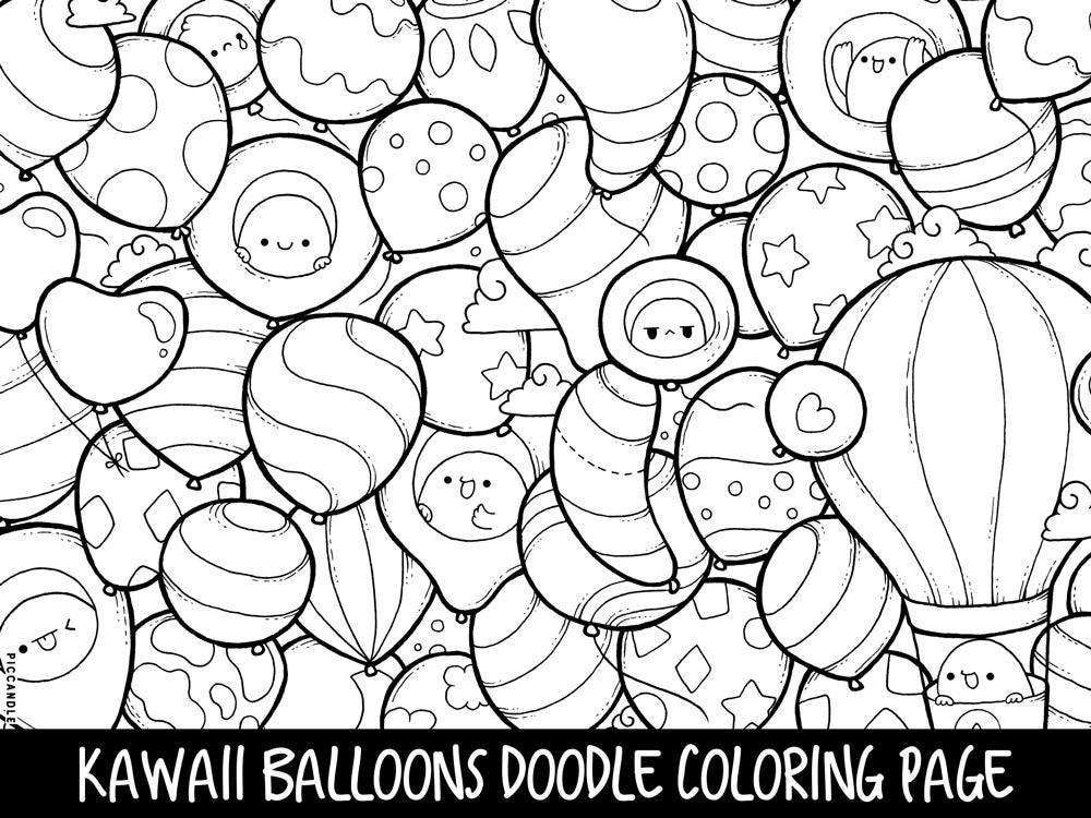 Balloons Doodle Coloring Page Printable Cute Kawaii Coloring