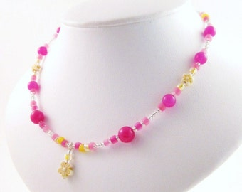 Pink and Yellow Necklace with Flower Pendant, Summer Necklace, Medium Girls Necklace, GNM 106, Sterling Silver