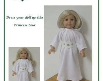 "PDF Pattern Like ""Princess Leia Gown""   fits American Girl Doll designed by Donna Cotterman"