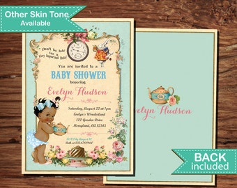 Alice in wonderland baby shower invitation. Vintage French turquoise pink floral. African American Mad hatter tea party digital invite B183