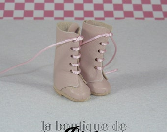 Pink leather Boots for Blythe doll - boots leather roses for Blythe