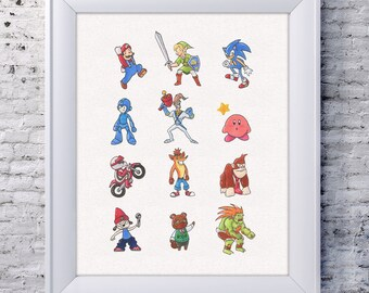 Video game wall art print for home decor featuring animal crossing, kirby, crash bandicoot, and legend of zelda