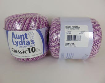 Shaded Purples - Aunt Lydia's Crochet Cotton Classic Size 10 veriagated