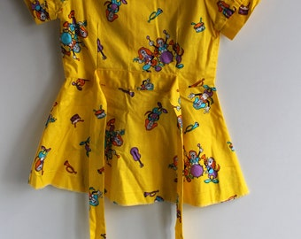 Vintage Yellow Girl Dress, Soviet Cotton Tunic, Puff Sleeves, Bright Handmade Toddler Dress, Size 1-2 Years, Retro Fashion