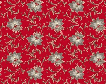 Red is the New Neutral, by Faye Burgos for Marcus Fabrics, Shades of Gray Floral on Red,  100% Cotton, by the Yard or Half Yard, 2124-0111