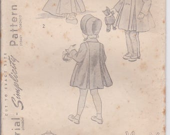1950's Sewing Pattern - Simplicity 2953 Childs Coat, Bonnet and Leggings Size 2  Factory Folded, Complete