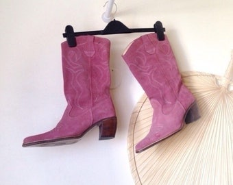 Boots vintage 80 s (41.5 had) pink suede