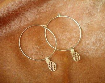 Pineapple Hoop Earrings - Gold Earrings - Hoop Earring