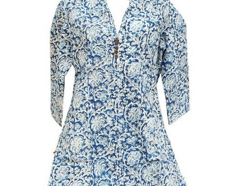 Blue Indian tunic with white flowers