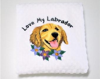 "Labrador Towel, Yellow Lab Gift, Labrador Retriever, Dish Towel, Kitchen Towel, Labrador Owner, Birthday, Hostess, Yellow Lab Decor  ""Happy"""