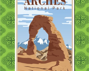 Arches National Park Travel Poster Wall Decor, Travel Art (7 print sizes available)