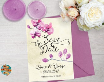 Save the date, wedding, orchids theme, printable, customizable