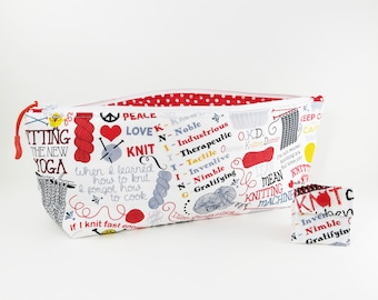 """Knitting Project Bag - NEW!  """"Do Ewe Knit?"""" Zippered Large Notions Wedge Bag;  PERFECT for a Swap Package! (V)"""