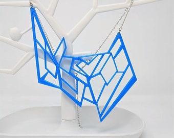 Blue Asymmetrical Statement Necklace--3D Printed Jewelry--Fluorescent Bib Necklace--Contemporary Mod--Neon Lightweight Statement Jewelry