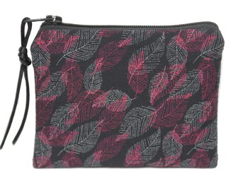 Small fabric purse feathers leaves