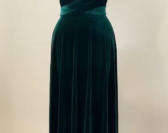 Green velvet dress, infinity dress, bridesmaid dress, prom dress, ball gown, long dress, evening dress, convertible dress, party dress