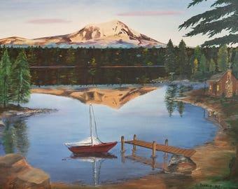 Nature painting print of my original oil painting  Mt. Adams, Washington