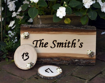 Custom, Wood Burned Wedding Table Numbers and Sign