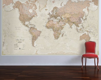 Huge Antique World Map - wall map, gift for him, gift for her, map, home decor, bedroom, living room, world wall map, antique, Free Shipping