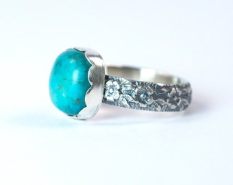 Turquoise Sterling Silver Ring with Floral Band / Size 8.75 US / Aqua Blue Turquoise Ring / Silver and Turquoise Handmade Ring
