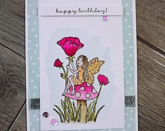 Fairy sitting on a toadstool birthday card - stamped and watercoloured