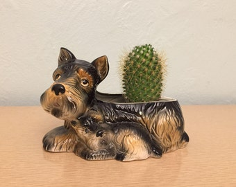 15% SALE *** Ceramic Scottie Dog & Pup Planter - Perfect for Succulents or Cactus