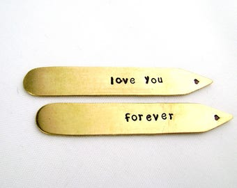 Bronze Collar Stays, 8th Anniversary Gift for Men, Love You Forever Collar Stiffeners, Traditional Anniversary Husband Gift
