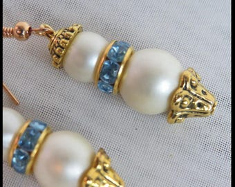 Pearl and Blue Crystal Steampunk EARRINGS PEARLS and Antique Gold FILIGREE Victorian Earrings Steampunk Earrings by SweetDarknessDesigns