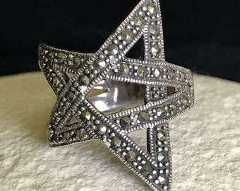 1970's Marcasite & Sterling Silver Star Ring Size 8