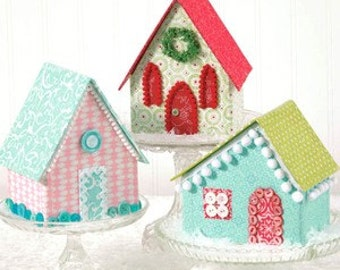 Clearance PATTERN Vintage Style Glitter Village PUTZ House Church Fabric Village  We combine shipping