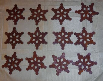 """Lot of 12 2 inch Rusty Primitive Snowflakes 2"""""""