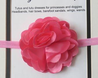 Pink satin and mesh flower headband