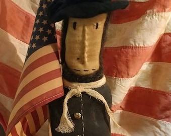 Primitive Lincoln doll Folk art Abe Lincoln Make do Presidents day