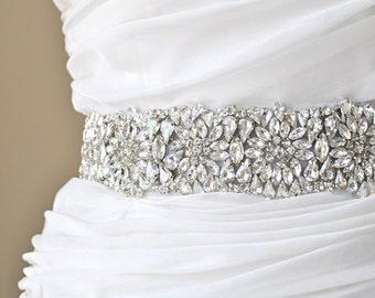 Wedding Sash - Bridal crystal belt, rhinestone sash, bridal sash, bridal belt